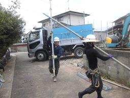 足場材料の運搬